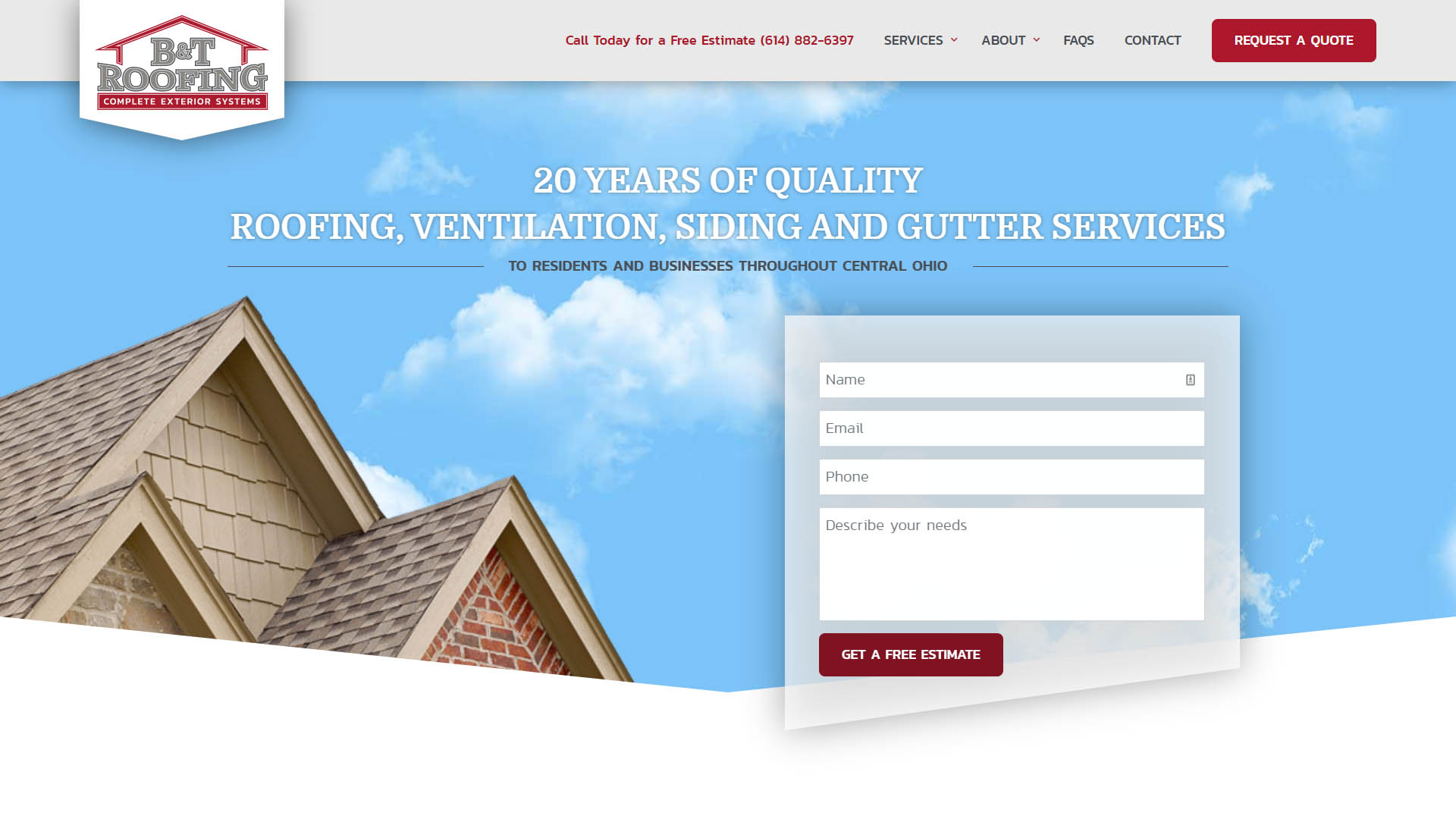 BT Roofing Website Portfolio Image